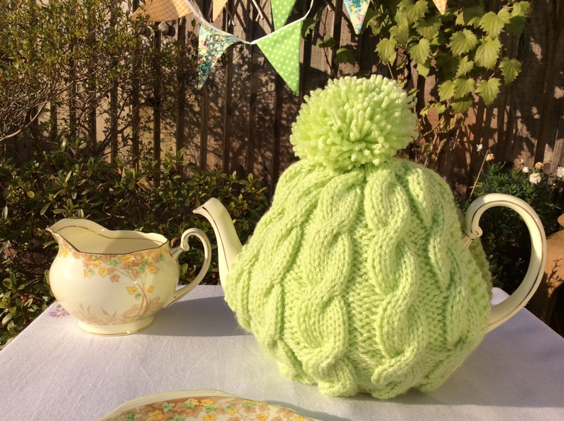 Lime Cable Knitted Tea Cosy