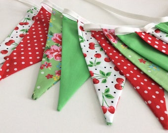 Red and green Bunting / flag banner - 12 flags in red and green fabrics, cherries and florals, perfect for birthdays, room decor