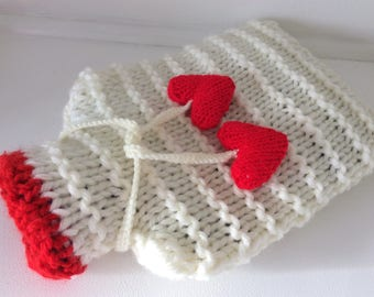 Hot Water Bottle Cover / Cosy with super chunky soft yarn and its hear ties