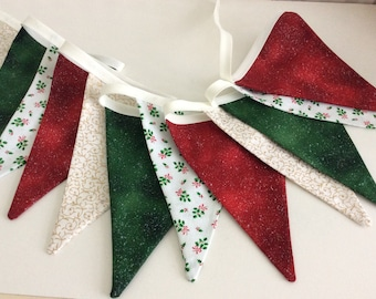 Christmas bunting new for 2021 - 12 flag Fabric Garland Banner, festive bunting 8.5ft long a new design