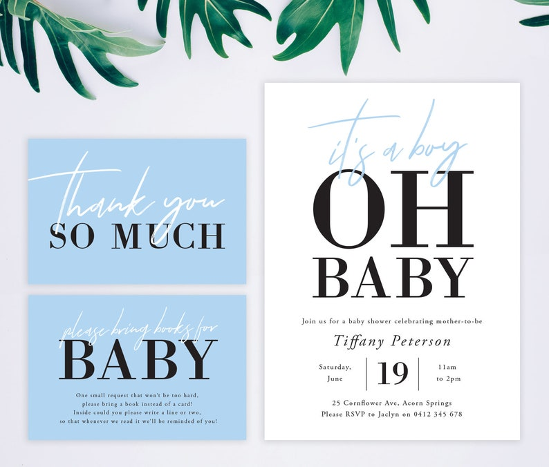 It S A Boy Baby Shower Invitation Set With Thank You Card Etsy