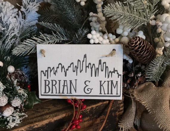Christmas In Chicago Skyline.Custom Chicago Skyline Christmas Ornament Peronsalized With Your Name