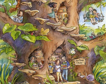 The Book Tree - Illustration Art Print, Woodland Art, Decor, Nature, Library, Reading, Forest, Children's Illustration, Woods, Fairies