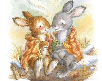 Winter Bunnies - Illustration, Art Print, Woodland Animal, Bunnies Snuggling, Cozy, Warm, Tea, Coffee, Winter Decor, Christmas, Snow, Rabbit