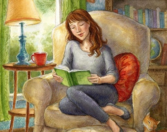 Book Girl Art Print - Reading Story Illustration, Literature, Library Art, Book Collector, Coffee, Tea, Cozy