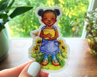"Book Girl and Sunflowers Reading Black Girl 3"" Vinyl Sticker, Cottagecore Watercolor Sticker"