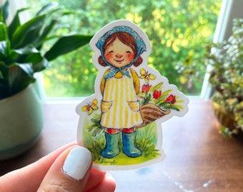 "Little Gardener Tulip Girl 3"" Vinyl Sticker, Cottagecore Watercolor Sticker"