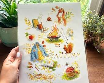 My Favorite Things of Autumn, Fall Montage Art Print
