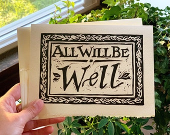 Linocut Card - All Will Be Well, Handmade 5x7 Note Card, Vine, Rustic, Woodland Card with Deckle Edge