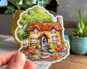 "Jolly Little Cottage 3"" Vinyl Sticker, Cottagecore Watercolor Fairy Dollhouse Garden"