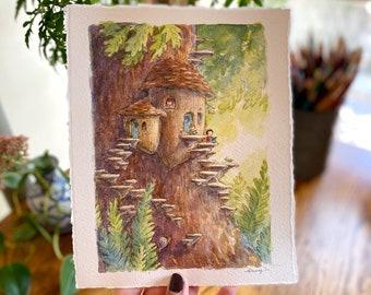 Acorn Fairy House Art Print