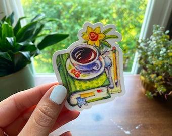 "Tea Time Book Stack Daffodil 3"" Vinyl Sticker Cottagecore Book Lover"
