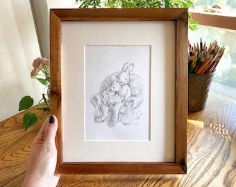 Rabbit Bedtime Stories Illustration - Pre-Order