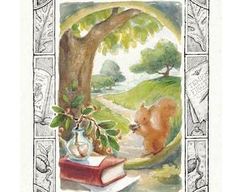 Tempus et Sciurus - Time and Squirrel Art Print