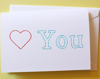 Heart you - Stitched Card