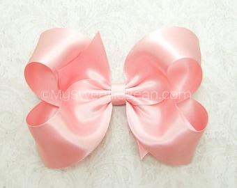 dea2c99eb689f Pink satin hair bow
