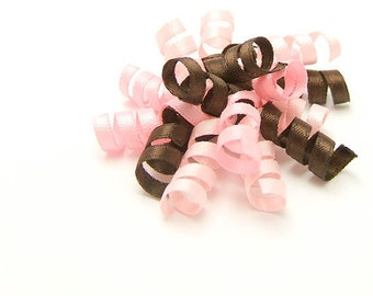 Pink and Brown Korker Bow, Mini Korker, Satin Korker, Baby, Toddler, Girl