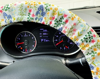 Steering Wheel Cover Granny Chic Wildflowers for Women Car Accessories for Her or Him Small Floral Print w Grip & Key Fob Opt Handmade in FL