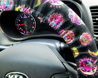 Steering Wheel Cover Celestial Sun Moon for Women or Men Stars Crescent Galaxy Car Accessories Handmade in FL Grip & Key Fob Options