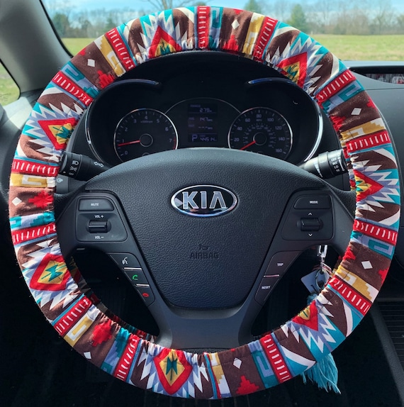 Bohemian Aztec Tribal Southwestern Car Steering Wheel Covers Custom Cute Cover Interior Car Decorations Red Brown Teal Fall Winter