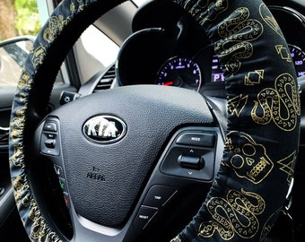 Steering Wheel Cover Metallic Snakes and Skulls on Black | Geometric Goth Witch Car Accessories | Handmade in FL | Fully Lined | Spooky