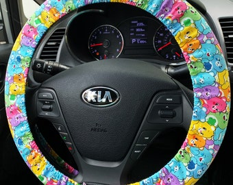 Steering Wheel Cover made from Care Bears Fabric Car Accessories for Women or Men Care Bear Rainbow Handmade in FL w/ Grip & Key Fob Option