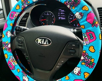 Steering Wheel Cover made with Hello Kitty Fabric Aqua Blue Pink HK Car Accessories Handmade in FL Anime Kitty White Girly for Women