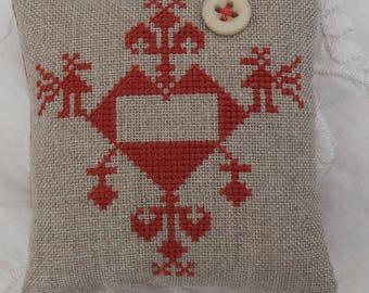 American Primitive Cross Stitch cushion