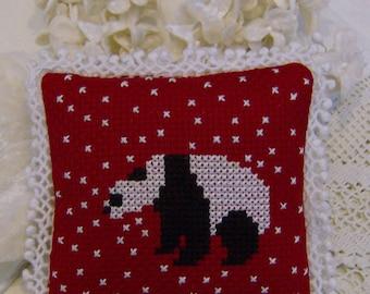 Cross Stitch panda in snow pincushion