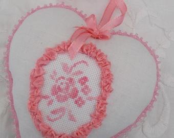 Cross stitch embroidered decorative heart
