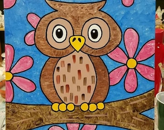 Give A Hoot Acrylic Canvas Painting