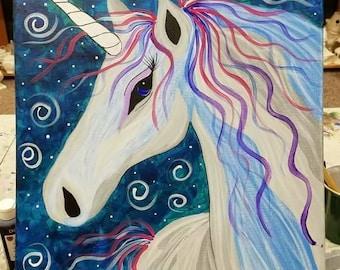 Unicorn Acrylic Canvas Painting