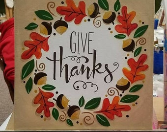 Give Thanks Acrylic Canvas Painting