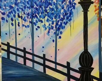 Evening Stroll Acrylic Canvas Painting