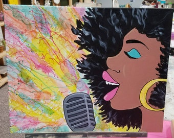 Pop Singer Acrylic Canvas Painting