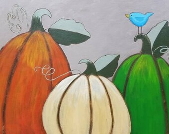 Rustic Pumpkins Acrylic Canvas Painting