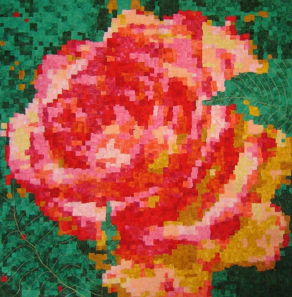 Pixelated Rose Quited Wall-hanging