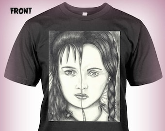 "Portrait T-Shirt : ""Kindred Spirits"" Lydia Deetz Wednesday Addams Beetlejuice Addams Family"