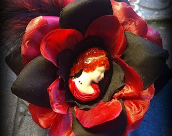 Hair Barrette: Dead Girl Vintage Decay - Lucy Westenra Bram Stoker Dracula Vampire Flower Vintage Cameo Gothic Victorian Wedding Accessory