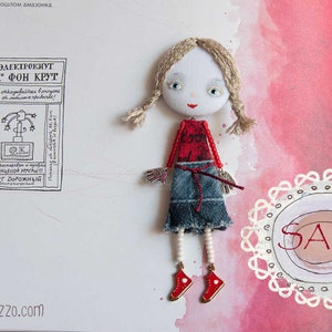 valentines day gift rag doll brooch textile art brooch Hand Painted  anime girl doll brooch Love Girl Brooch