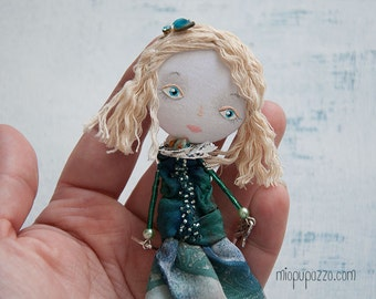 Art Doll Brooch, Aqua Girl, mixed media collage