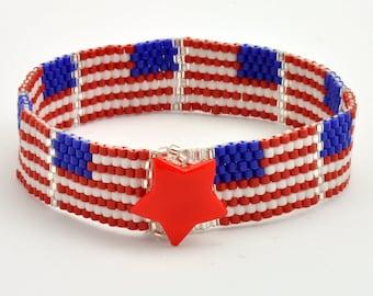 Tutorial Bead Jewelry PDF Pattern, U. S. Flag Peyote Bracelet