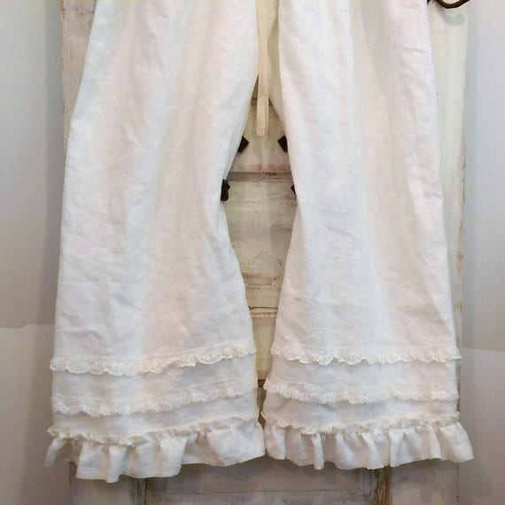 Washed Linen Bloomers Ruffles and Lace Bloomers Boho Bloomers Grey Linen Bloomers Women/'s Bloomers |The Wild Raspberry