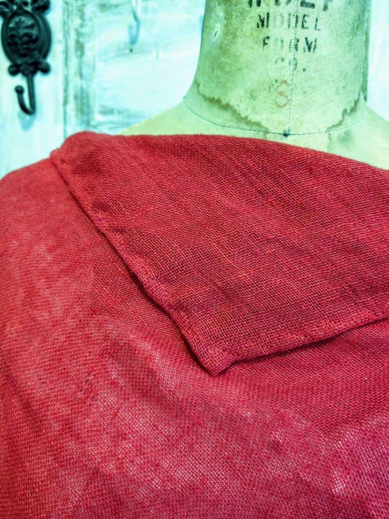 Open Weave Washed Linen Cape Linen Poncho Sophia Cape Red Linen Poncho The Wild Raspberry Washed Linen Poncho
