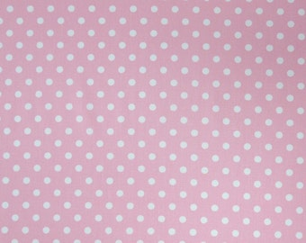 Pale Pink Polka Dot Fabric, Pink and White Cotton Fabric, Dot Fabric for patchwork and crafts