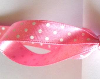 10 mm Pink Polka Dot Satin Ribbon by Berisfords,  3/8 inch Pink and White small Polka Dot Machine Washable Ribbon