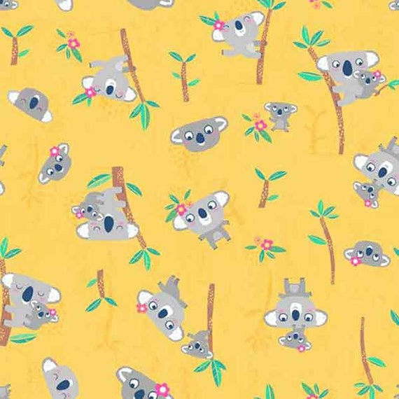 Makower Fabric Into The Woods Trees Grey Per 1//4 Metre