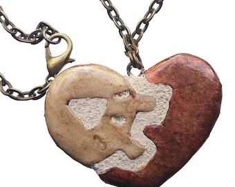 Heart Necklace - Interchangeable - Steampunk Clock Gears - Clay Ceramic