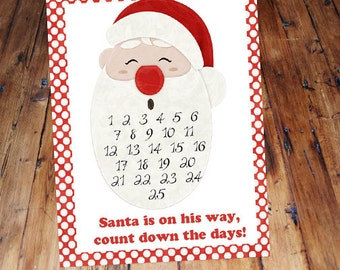 Christmas Countdown Santa Calendar Advent for kids 8x10 printable DIY craft instant download