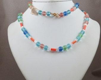 Vintage Mardi Gras Glass Bead Necklace Czechoslovakia